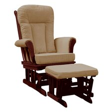 Elysium Glider Rocker and matching Ottoman ,Cherry Glider with Beige Cushion