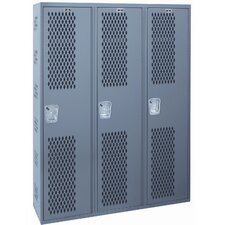 Welded 1 Tier 3 Wide Ventilated Locker