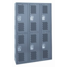 Welded 2 Tier 3 Wide Ventilated Locker