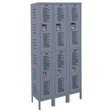 Heavy-Duty 2 Tier 3 Wide Ventilated Box Locker