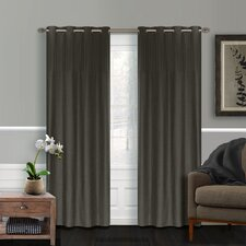 Vision Pleated Faux Silk Grommet Curtain Panel (Set of 2)