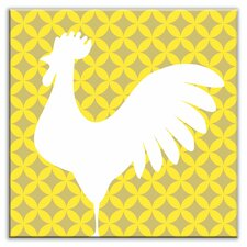 "Folksy Love 4-1/4"" x 4-1/4"" Satin Decorative Tile in Doodle-Do Yellow Left"
