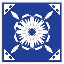 """Folksy Love 4-1/4"""" x 4-1/4"""" Satin Decorative Tile in Gram's Kitchen Blue"""
