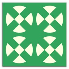 "Folksy Love 4-1/4"" x 4-1/4"" Satin Decorative Tile in Hot Plates Green"