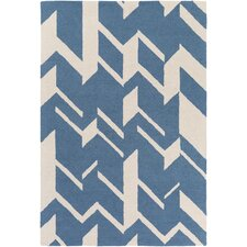 Hilda Annalise Hand-Crafted Blue/White Area Rug