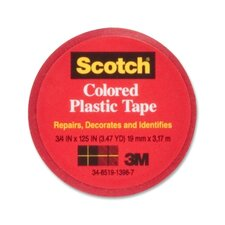 "Colored Plastic Tape, Moisture Resistant, 3/4""x125"", Red (Set of 4)"