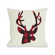 Plaid Reindeer Reversible Throw Pillow