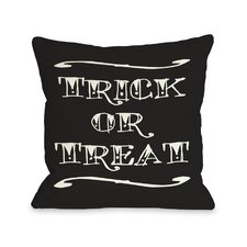 Trick or Treat Tattoo Letters Throw Pillow