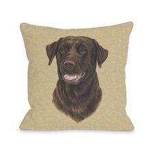Doggy Décor Chocolate Lab Head Throw Pillow