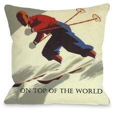 On Top of The World Vintage Ski Throw Pillow