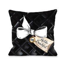 Hello Beautiful Bow Glitter Throw Pillow