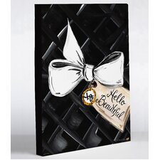Hello Beautiful Bow by Timree Graphic Art on Wrapped Canvas