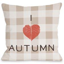 I Heart Autumn Plaid Throw Pillow