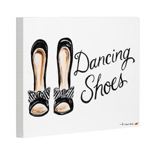 Dancing Shoes Striped Bow by Timree Painting Print on Canvas