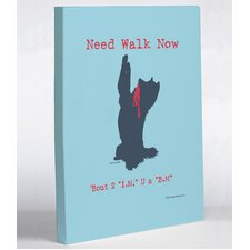 Doggy Decor Need Walk Now Blue IM BM Graphic Art on Wrapped Canvas