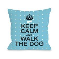 Doggy Décor Keep Calm and Walk The Dog Mini Dots Throw Pillow