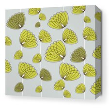Aequorea Floating Lotus Graphic Art on Wrapped Canvas in Silver and Grass