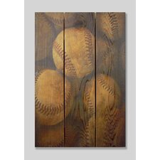 Vintage Baseball  Full Color Cedar Wall Art