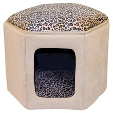 Kitty Sleep House in Tan & Leopard
