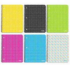 6 Piece 1-Subject Polka Dot Spiral Notebook Set