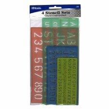 4 Piece Lettering Stencil Set