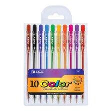 10 Retractable Color Pen