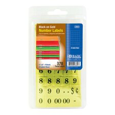 378 Ct. Gold Foil Number Label Set