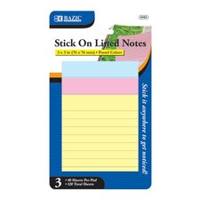 Lined Stick On Notes (Set of 3)