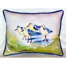 Green Sanderlings Indoor Outdoor Lumbar Pillow