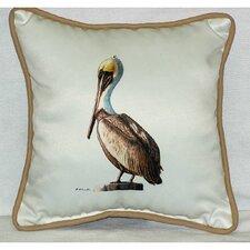 Coastal Pelican Border Indoor/Outdoor Throw Pillow