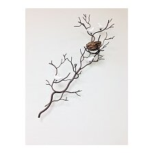 Wire Branch with Nest and Fine Bone China Birds Wall Decor