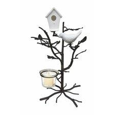 Bird and Birdhouse Wire Branch Tree Glass Tealight
