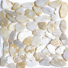 "12"" x 12"" Natural Stone Pebble Tile in Gold"