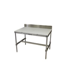 Aluminum I Frame Prep Table with Back Splash and Poly Top
