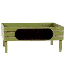 Wooden Crate with Black Stadium Label LG Distressed Yellow Green