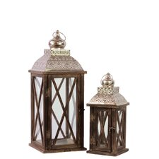 Wood Square Lantern with Silver Pierced Metal Top, Ring Hanger and Glass Windows Set of Two Stained Wood Finish
