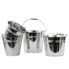 Metal Bucket With Wood Handle Set of Four Red