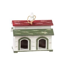 Wood Birdhouse with Red and Green Roof, Rope Hanger and 2 Entrances White
