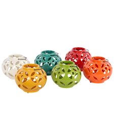 Ceramic Tea Light Lantern with Metal Handle Assortment of Six LG Assorted Color (Yellow Green, Red, Orange, Amber, White and Teal)