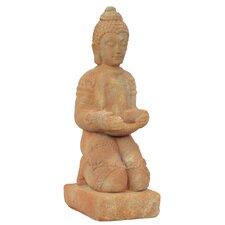 Stoneware Kneeling Buddha Dhyana Mudra with Bowl in Matte Tan
