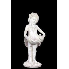 Stoneware Child with Skirt Up Bird Feeder  LG Matte White