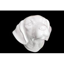 Ceramic Labrador Dog Head Wall Decor Gloss White