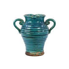 Ceramic Tuscan Vase with 2 Handles Ribbed Gloss Cadet Blue