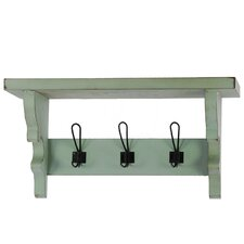 Wooden Wall Shelf with Corbels and 3 Hooks