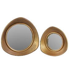 2 Piece Reuleaux Triangle Wall Mirror Set in Antique Gold