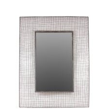 Metal Rectangular Mirror with Concave Mesh Design Frame Dark Gray