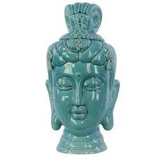Ceramic Buddha Head Decor Gloss Cadet Blue