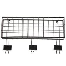 Metal Basket with Coat Hanger Black