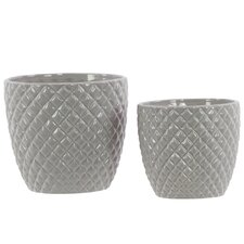 2 Piece Ceramic Pot Set in Light Gray