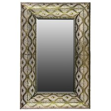 Metal Rectangular Wall Mirror in Pierced Metal Gold